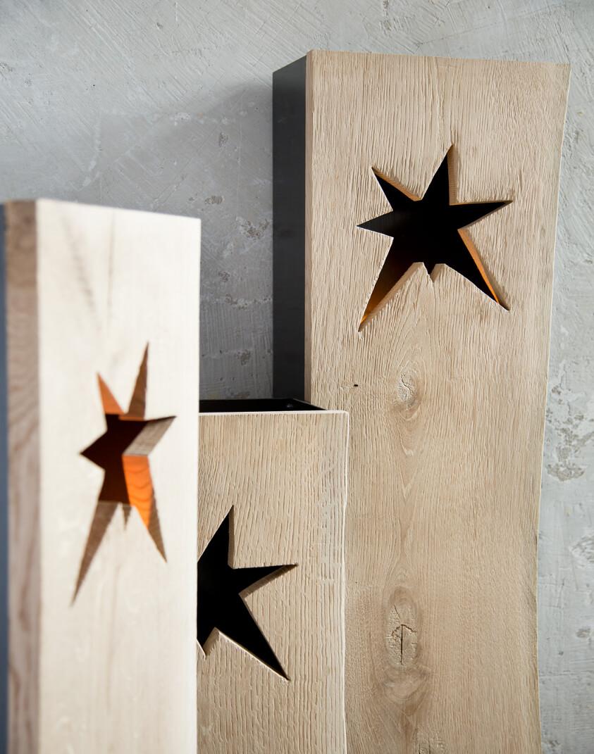 Gwiazdy w drewnianych lampionach