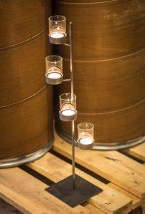 metalowo szklany świecznik na cztery świeczki