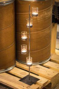 metalowo szklany świecznik na 5 świec