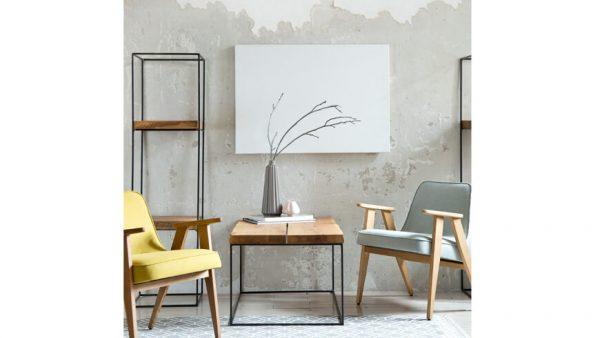 Wnętrze w stylu skandynawskim z meblami loftowymi