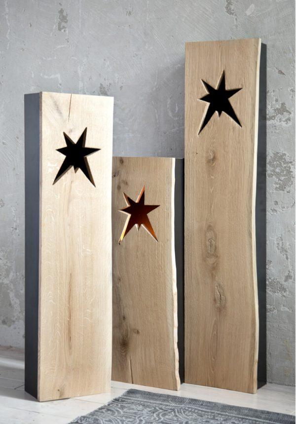 Lampion z gwiazdami metalowo drewniany